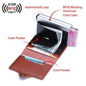 Image 4 - Ví Nam Da Thật Thẻ Hai Lớp RFID Ngăn Chặn Ví Nam ID Đựng Thẻ Ngân Hàng Thời Trang Ví Ví Thẻ