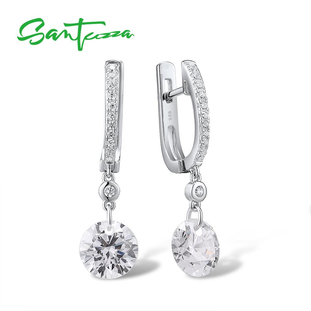 SANTUZZA Silver Earrings For Women Pure 925 Sterling Silver Sparkling White Cubic Zirconia Drop Earrings Delicate Fine Jewelry