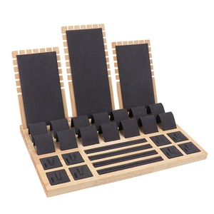 Image 3 - High Quality Bamboo Velvet Jewelry Display Earring Display Stand Ear Stud Earrings Holder Rack Storage Case