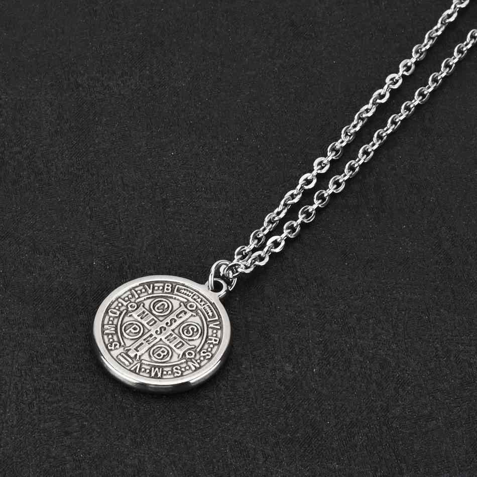 WOWTIGER mężczyźni krzyż jezus wisiorek ze stali nierdzewnej świętego benedykta srebrny Link Chain naszyjniki dla kobiet biżuteria religijna prezent