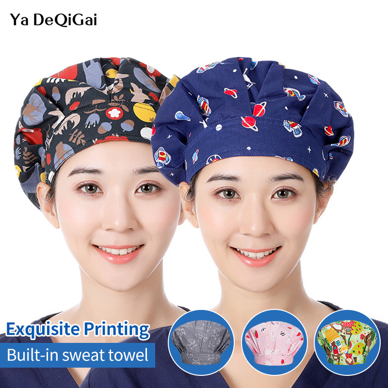 Printing Medical Surgical Hat For Long Hair Cotton Operating Room Hat Pet Hospital Doctor Work Hats Dental Clinic Nursing Caps