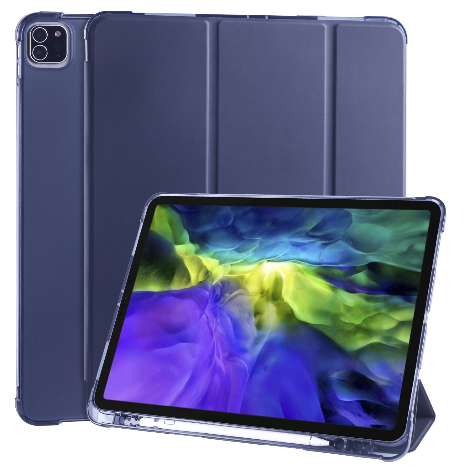 Blue Blue Smart Soft Shockproof Case for iPad Pro 12 9 2020 2018 3rd 4th Generation with Pen