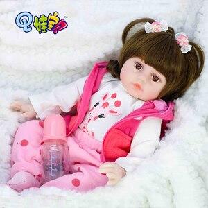 Muñeca Reborn de 55cm, botella de muñeca de bebé cervatillo, muñeca de niño niña de cuerpo entero, silicona suave, juguete de ducha realista para bebés, regalo de cumpleaños