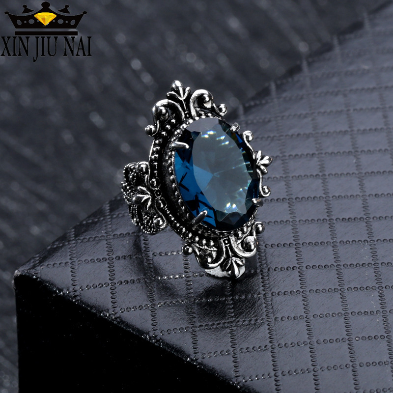 Vintage Royal Princess Sapphire Ring Goose Egg-shaped Sea Blue CZ Stone Crystal Rings For Women Party Jewelry Ring