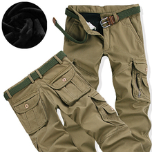 Men's Winter Thick Warm Cargo Pants Casual Fleece Pockets Fu