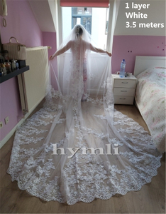 """Image 5 - 118"""" Long, 110"""" Wide 1 Layer Lace Applique Wedding Veil Cathedral Length Bridal Veil with Comb"""