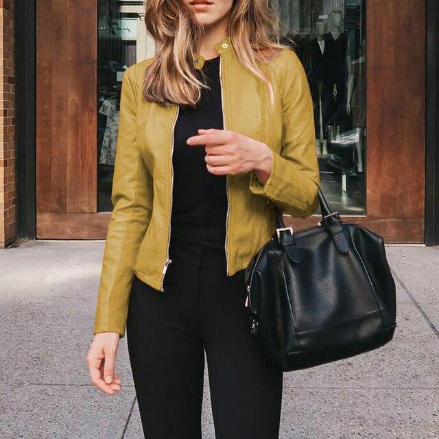 Women's PU Leather Bomber Basic Jacket Coats Autumn Fashion Slim Turn Down Collar Long Sleeve Coats Outwear 12 Colors Options 4