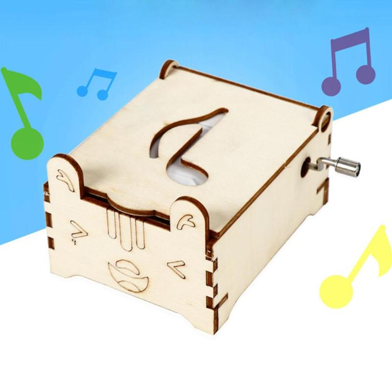 DIY Hand Cranked Music Box Enhance Baby Sense Touch Cute Shape Child Science Invention Experiment Kid Puzzle Toy Kit