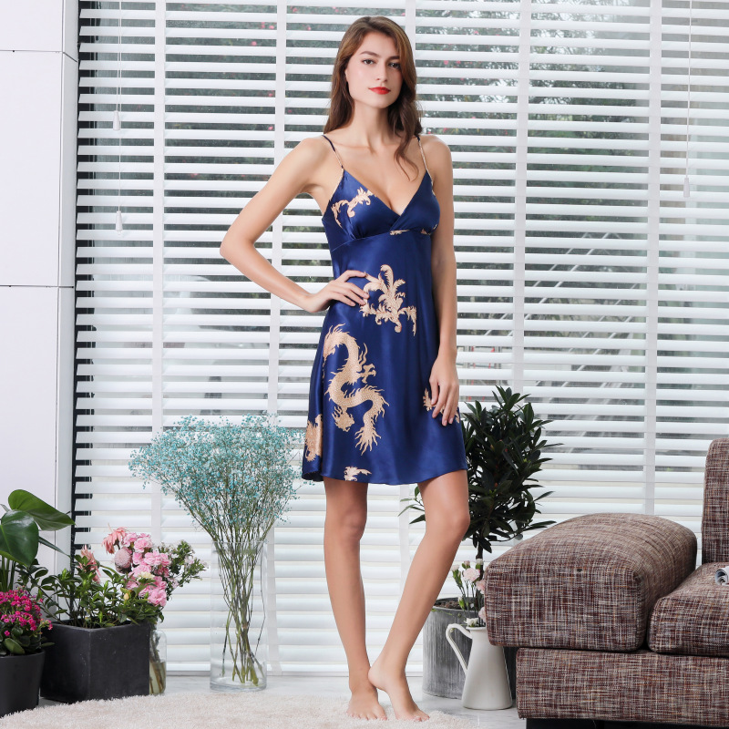 Sleepwear Women Nightwear Deep V Condole Belt Skirt Silk Pajama Plus Size Womens Lingerie Nightgown Sleep Wear Home Clothes