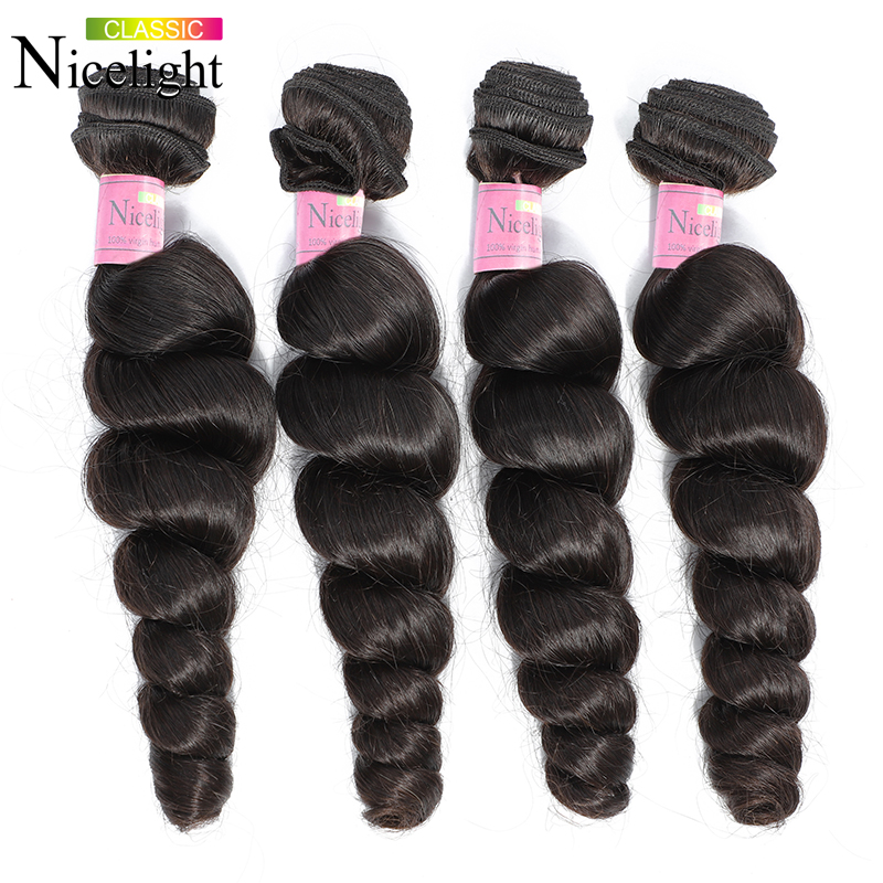 Loose Wave Bundles Indian Human Hair Bundles Extensions Nicelight Short Hair Bundle Long8-26Inch Single Bundles1/3/4Bundle Deals