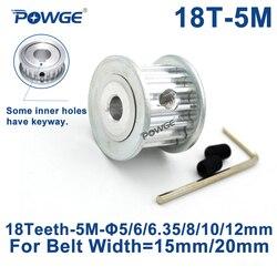 POWGE Arc tooth 18 zęby HTD 5M synchroniczne koło rozrządu otwór 5/6/6. 35/8/10/12/14mm dla szerokości 15/20mm HTD5M koło 18 zębów 18 T|pulley bore|timing pulley boretiming pulley -