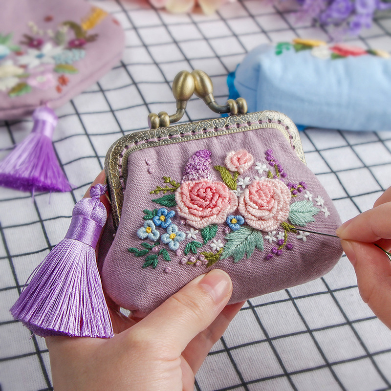 Embroidery DIY Ribbon Flowers Bags Purse Wallet Handbag, Cross Stitch Kit for Beginner Needlework Sewing Arts Craft Friend Gifts
