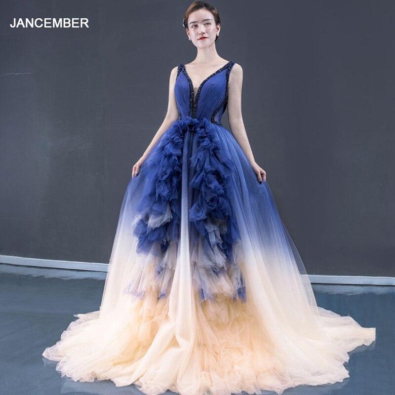J66990 Jancember V-neck Halter A Line Evening Dress Court Train Ribbons Navy Blue Long Elegant Evening Dress 2020 Abendkleider