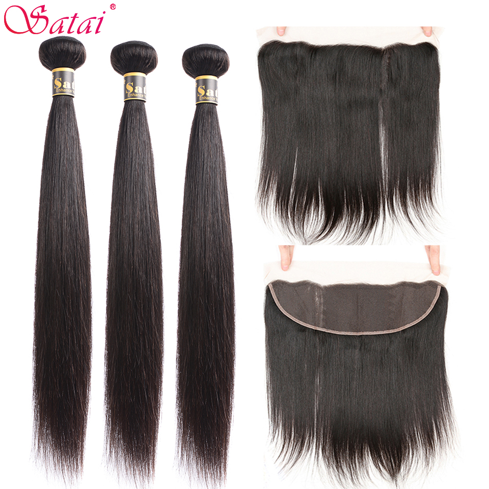 Satai Straight Hair Human Hair 3 Bundles With Frontal Natural Color Peruvian Hair Bundles With Closure Non Remy Hair Extension-in 3/4 Bundles with Closure from Hair Extensions & Wigs