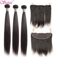 Satai Straight Hair Human Hair 3 Bundles With Frontal Natural Color Peruvian Hair Bundles With Closure Non Remy Hair Extension