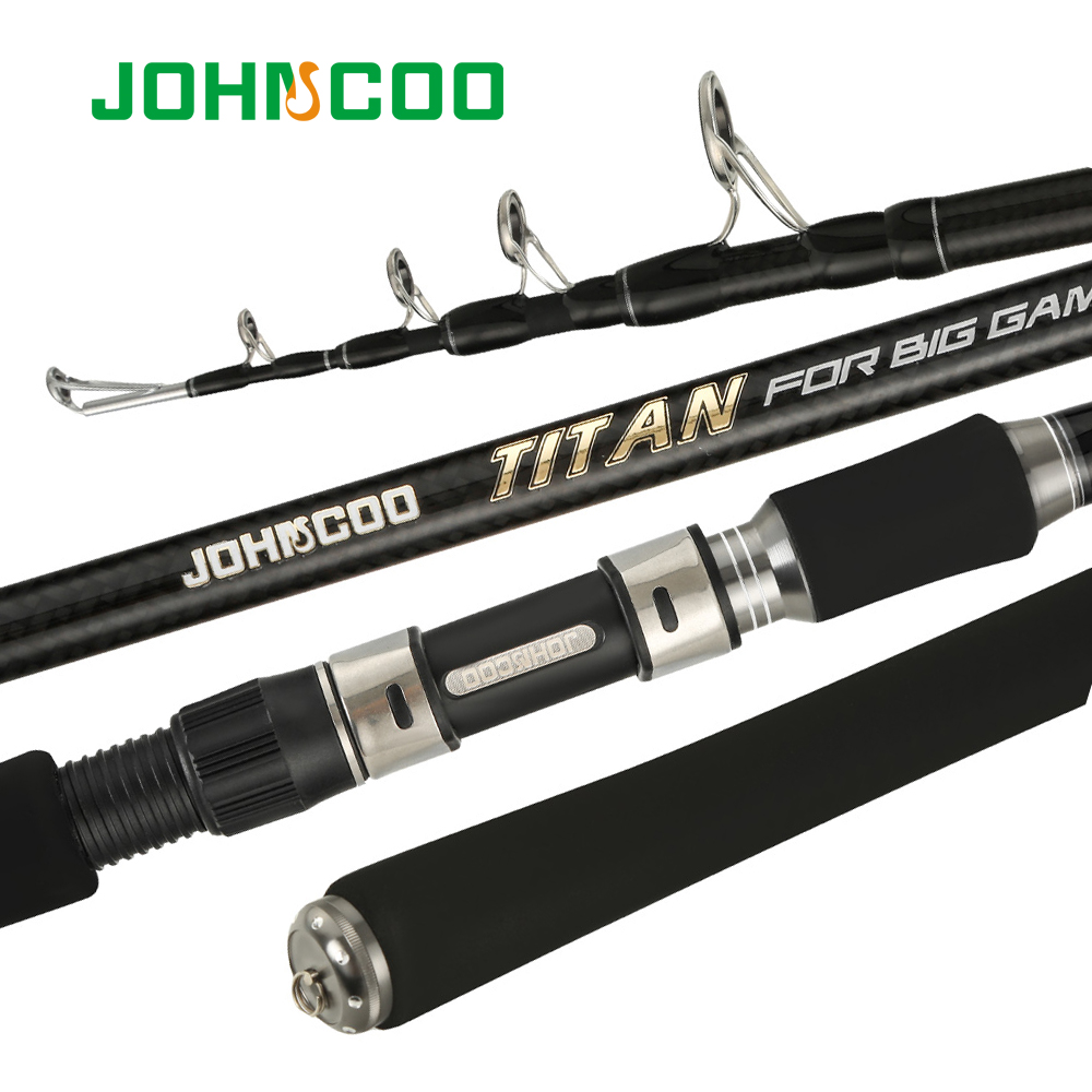 JOHNCOO Carbon Telescopic <font><b>Fishing</b></font> <font><b>Rod</b></font> Big Game 20-<font><b>100g</b></font> Spinning Casting <font><b>Rod</b></font> 15-35LB Surper Hard <font><b>Fishing</b></font> Catfish <font><b>Fishing</b></font> 2.4m2.7m image