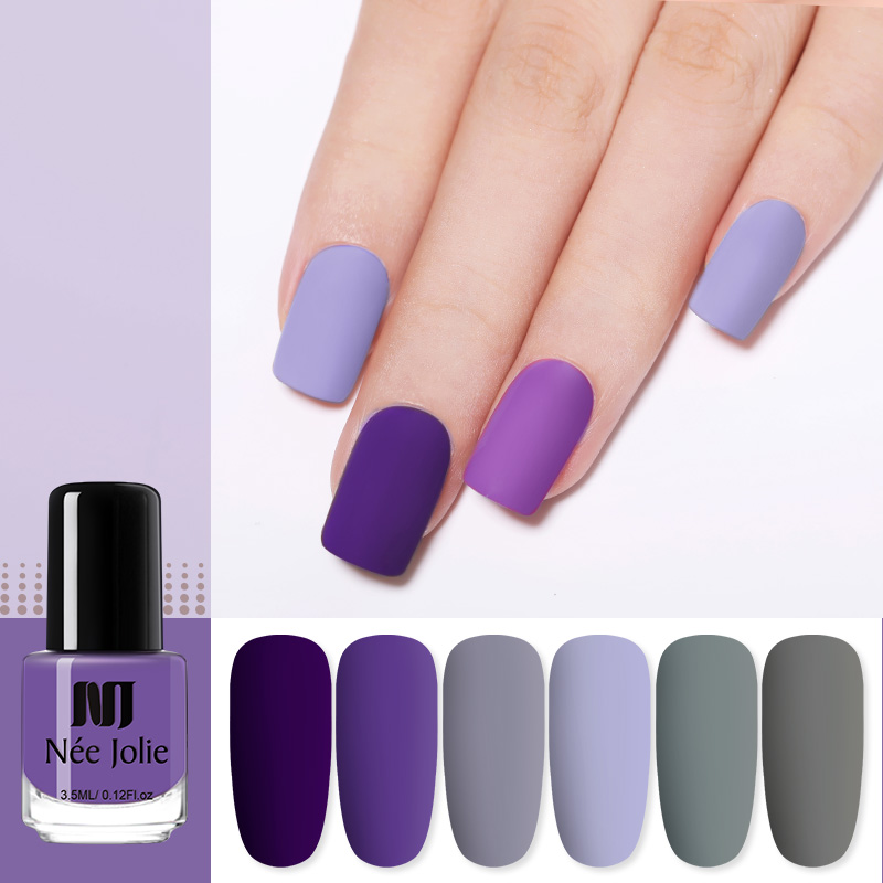 NEE JOLIE Solid Color Nail Polish Colorful Maple Red Gray Blue Long Lasting Lacquer Nail Art DIY Design Varnish Decoration