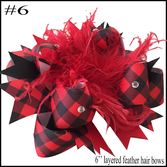 "4.5""Handmade Buffalo Plaid //Red Black Christmas Holiday Boutique Hair Bow"