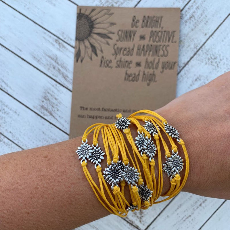 Wholesale 12 PCS Sunflower Quotes Bracelets Wedding Braismaid Bracelet Silver Charm Bracelets Friendship Bracelet Ins Fashion image