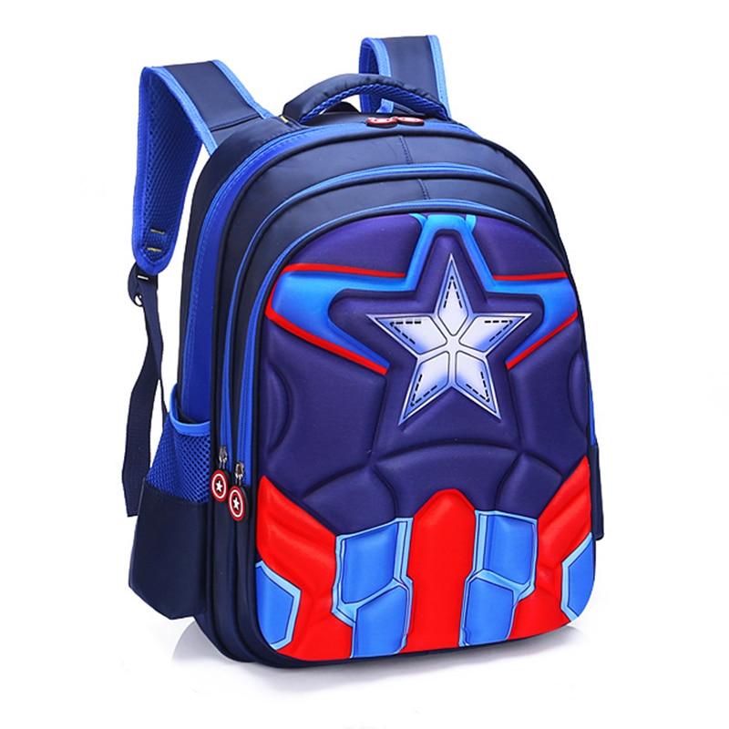 New Auto Man Spider Captain Children's Schoolbag Boy Girl Kindergarten Schoolboy Backpack Fashion Waterproof Schoolbag