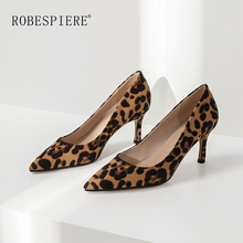ROBESPIERE Quality Flock Leopard Womens Pumps Sexy Thin Heels Pointed Toe Party Shoes Slip On Wedding Dress Ladies A54