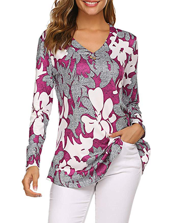 H20e1b75ec9884af188e7e9f2ed00add52 - Large size Blouse Women Floral Print Long Shirts elegant Long Sleeve Button Autumn Tunic Tops Plus Size Female Clothing