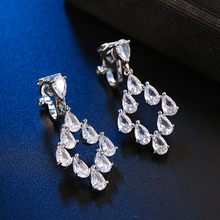 Fashion Simple Crystal AAA Cubic Zircon Clip on Earrings Without Piercing for Women Luxury Vintage Party Wedding Jewelry Gift