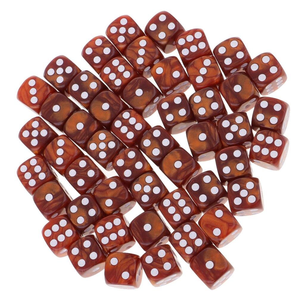 50 шт./компл. D6 с закругленной вершиной для игральная кость 16 мм для вечерние ролевая игра игрушка - Цвет: Coffee