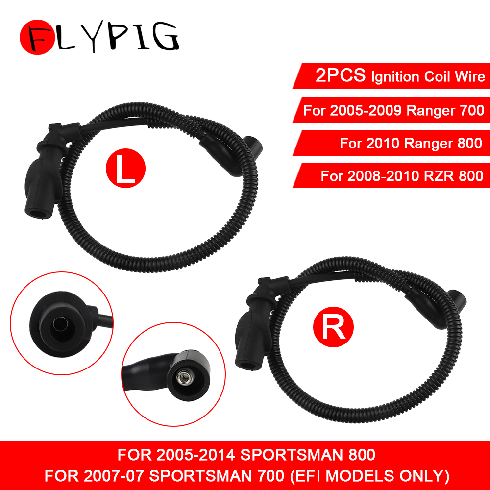 FLYPIG Ignition Coil Spark Plug Cap & Wire for Polaris Sportsman Ranger RZR 700 800 4011364 4011365 4010909