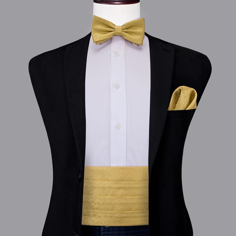 YF-2015 Hi-Tie Luxury Silk Men's Formal Wedding Party Floral Cummerbund Bow Tie Hanky Cufflinks Set Golden Tuxedo Cummerbunds