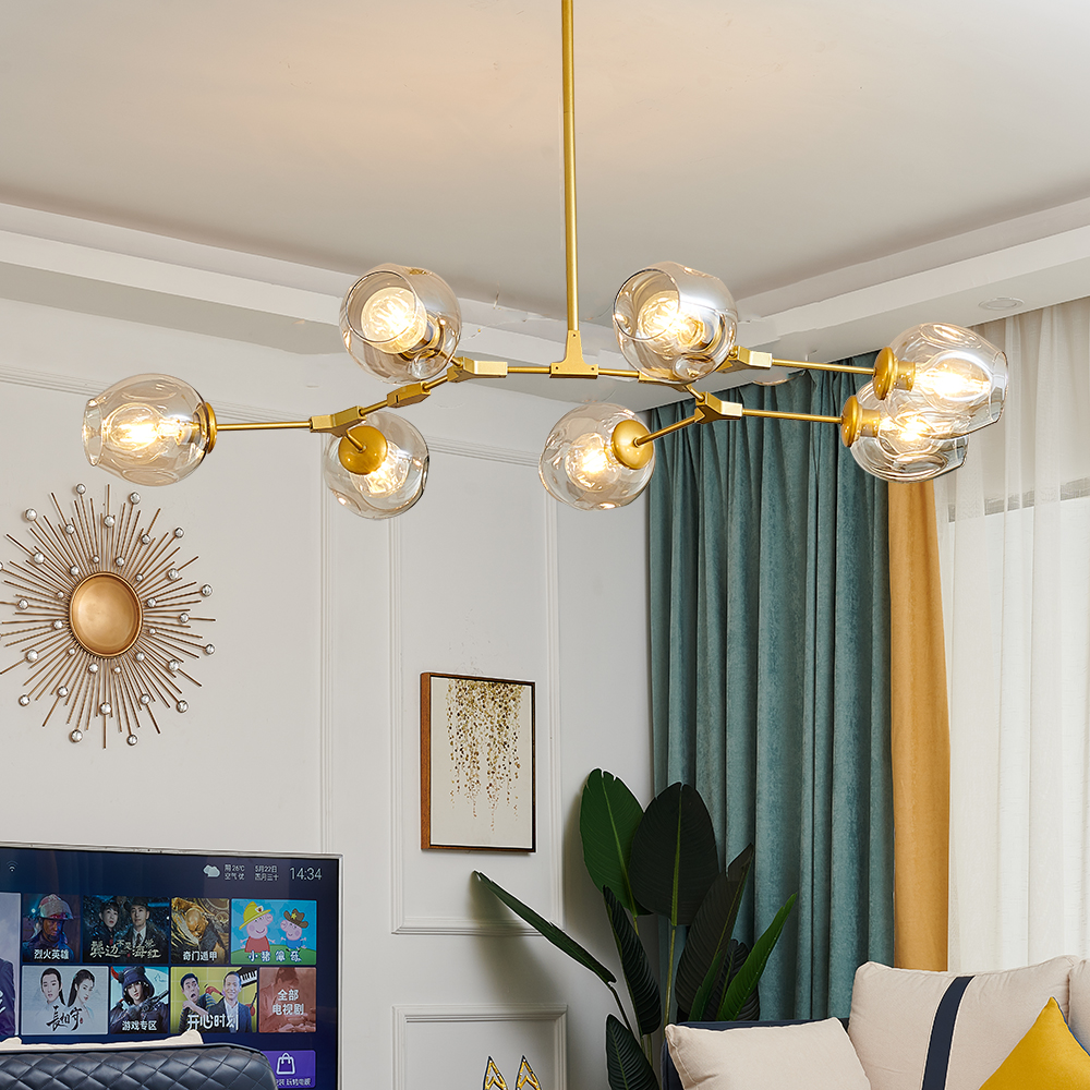 Modern Metal LED Chandelier Lighting Lustre Living Room Villa Interior Decor Pendant Lamp Lighting Glass Ball Kitchen Fixtures