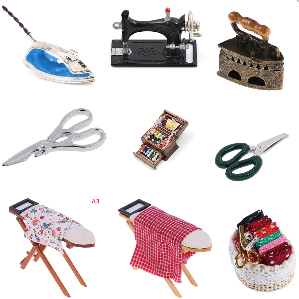 New 1:12 Dollhouse Miniature Ironing Board Scissors Iron Furniture Dollhouse Room Decoration Children Girls Toy Gift