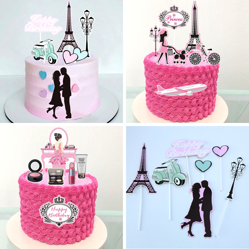 Cake Toppers Perfume Lipstick Paris Topper Eiffel Tower Kiss Cake Flags Kids Girls Birthday Wedding Bride Party Baking DIY Decor-0