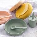 100% безопасная для еды одобренная силиконовая детская посуда модные круглые тарелки для еды Водонепроницаемая тренировочная чаша Детские а...