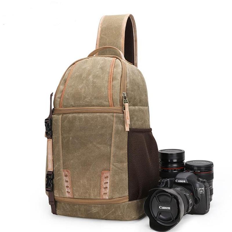 Extérieur photographie sac imperméable huile cire toile résistant à l'usure décontracté simple épaule diagonale poitrine sac appareil photo numérique sac