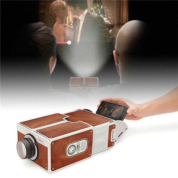Projetor de papelão para smartphones 3d, cinema portátil, luz ajustável, home theater pico-1