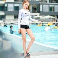 South Korea Swimwear Women's Long-sleeved Swimsuit Women's Diving Suit Sun-resistant Jellyfish Clothing Trousers Split Type Surf new men and women long sleeved siamese sunscreen snorkeling service hooded diving sun clothing jellyfish siamese swimwear