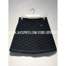 Черная стеганая юбка высокого качества, Женская юбка с карманами, тонкая хлопковая осенняя и зимняя мини-юбка
