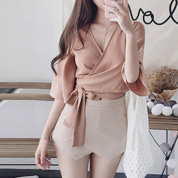 Korean Women Blouse Sexy V-neck Cross Short Wild Chiffon Shirt  Flare Sleeve Fashion OL Elegant Casual Criss-cross Bow Tops stylish women s v neck criss cross cut out dress