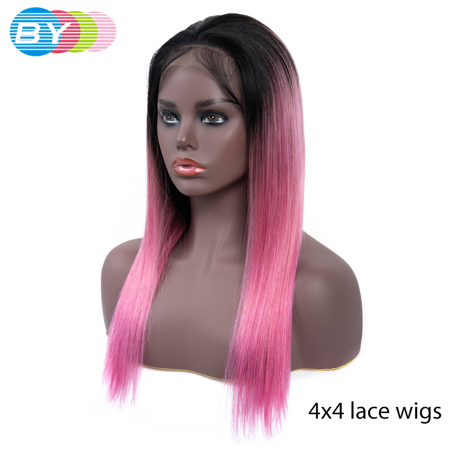 Brazilian 4 4 Straight Lace Closure Wig Ombre Human Hair Wig Perruque Lace Frontal Cheveux Humain