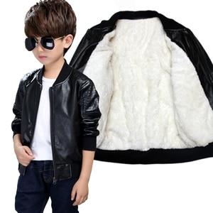 Image 1 - Kids Jacket Boys Coats Autumn New Spring PU Leather Jacket Childrens Plus Velvet Warming Cotton Outerwear Baby Boy Thin Clothing