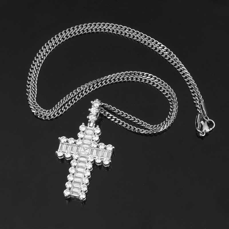 Big Cystal Cross Pendant Necklace For Men' s Hip Hop Jewelry Iced Out Gold Rhinestone Key of Life Egypt Cross Pendant Gift Box