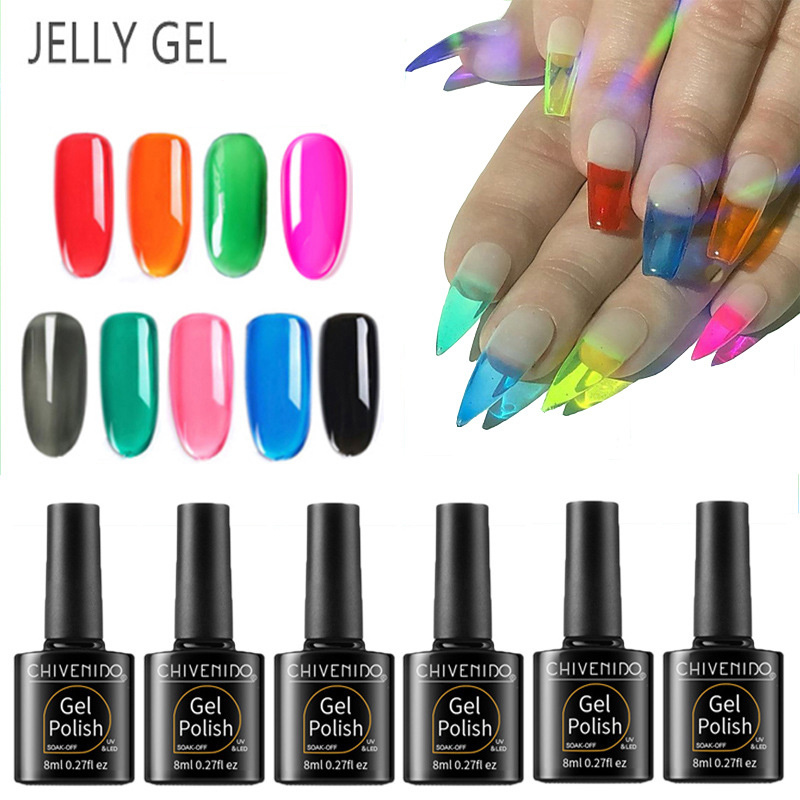 CHIVENIDO Jellies Glass Nails Sugar Effect Nail Jelly Gel Summer Attribute Translucent Color UV Polish 8ml