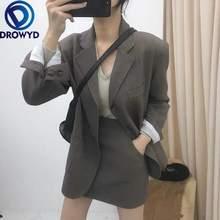 Женский костюм с юбкой серый пиджак на одной пуговице разрезом
