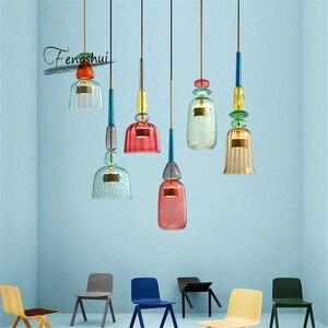 Image 3 - 北欧マカロンledガラスペンダント灯照明寝室リビングルームインテリアロフト現代のペンダントランプレストラン屋内装飾
