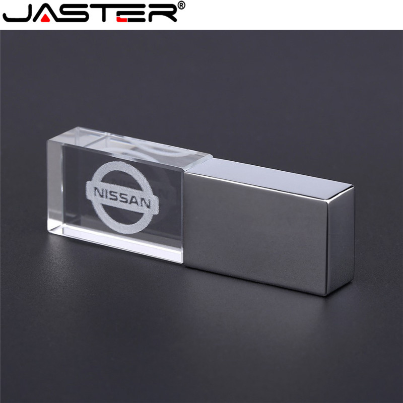 JASTER Nissan Crystal + Metal USB Flash Drive Pendrive 4GB 8GB 16GB 32GB 64GB 128GB External Storage Memory Stick U Disk