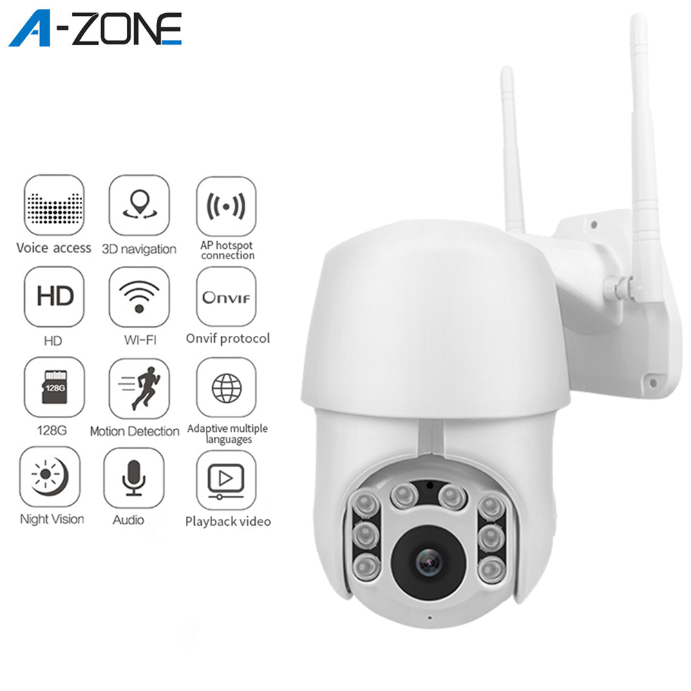 A-ZONE 1080P High Speed Dome IP PTZ Camera Auto Tracking Waterproof Night Vision Outdoor CCTV Security Surveillance WIFI Camera