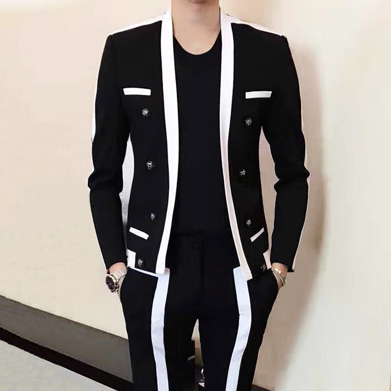 Contrast Stripe Blalck White Suit Male Wedding Groom Suit 2019 Autumn Winter Disguised Men Slim Fit Stage Outfit Mens Party Suit
