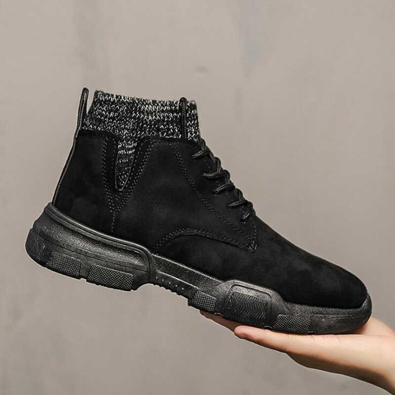 Oeak 2019 erkekler askeri kürk kar botları erkek Botas siyah sıcak kış erkek botları deri yarım çizmeler erkekler kış iş ayakkabısı