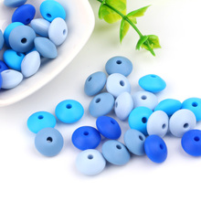 TYRY.HU Silicone Beads 12mm 100pcs/lot Lentil Silicone Bead Baby Teether Teethin